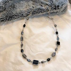 Lia Sophia black & silver bead necklace